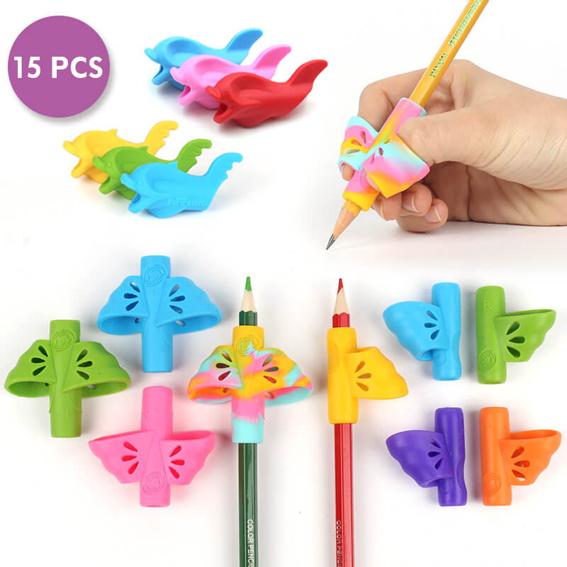 15pcs firesara pencil grips to improve handwriting variety pack