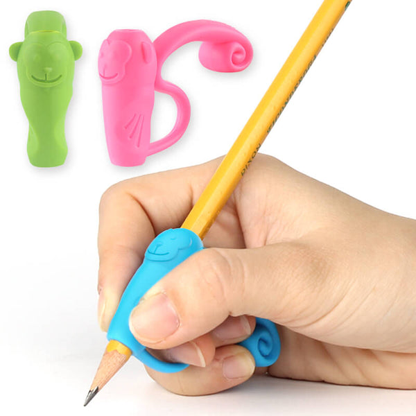 3pcs silicone monkey writing grips for left right handed kids firesara