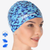 slight side view of model wearing bathing cap swim