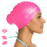 Waterproof Silicone Swim Cap for Long Thick or Curly Hair