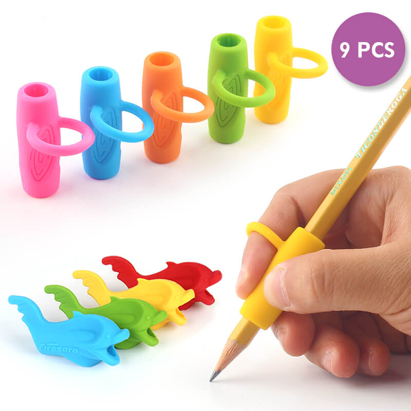8pcs pencil hand grips 4 fish 4 ring style silicone