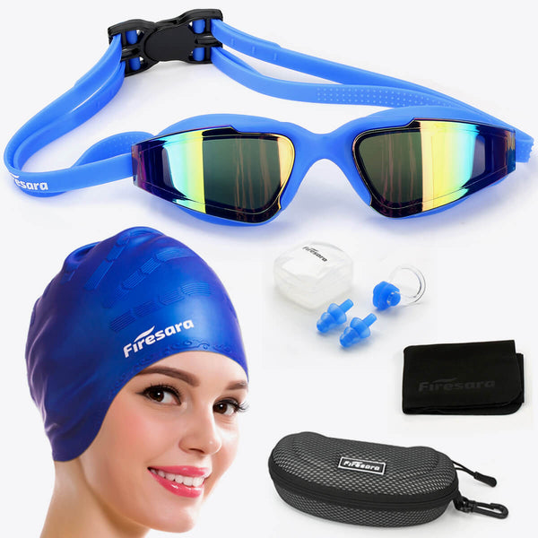 what's included in firesara swim cap and goggles blue