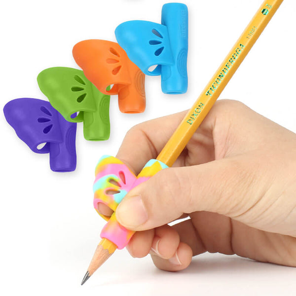 5pcs right handed pen grip aid butterfly wing one finger hole firesara