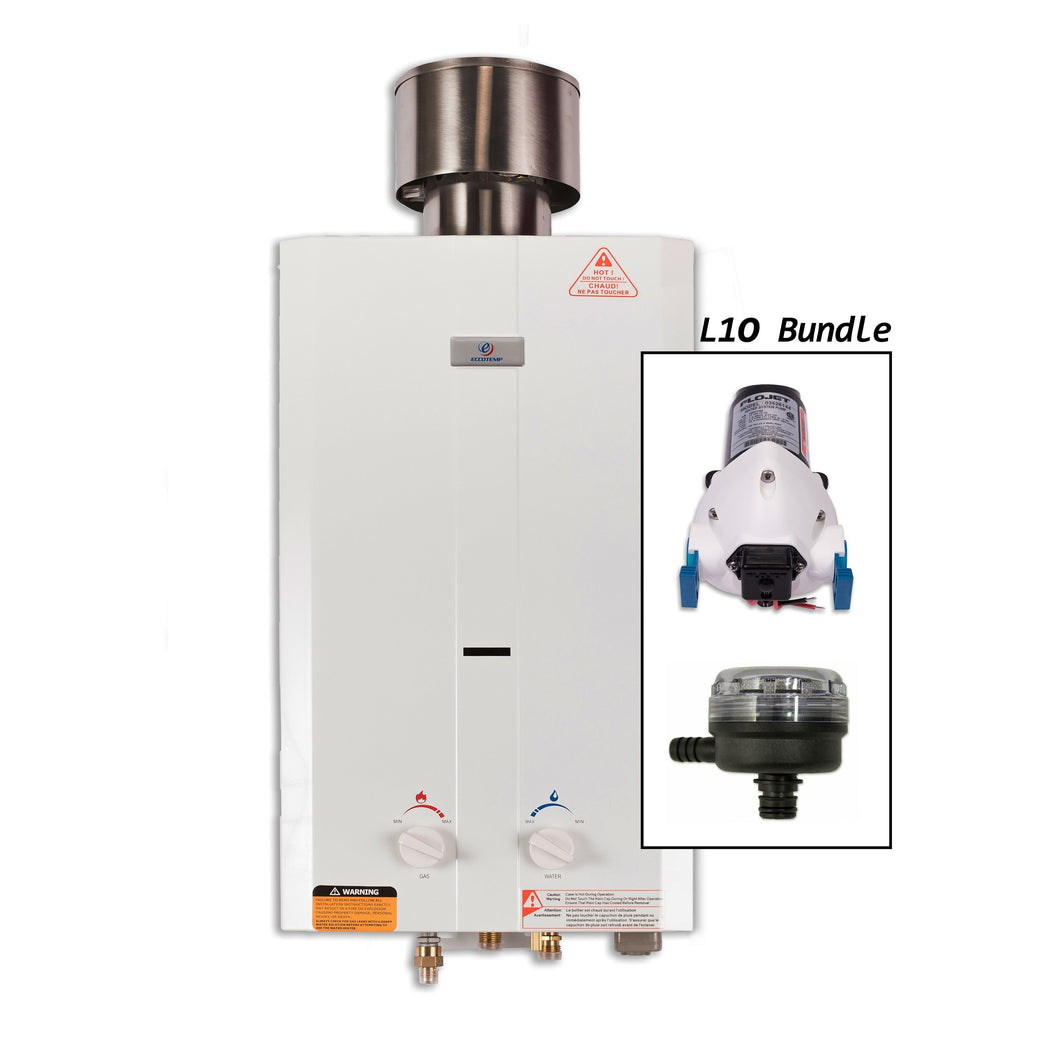 Eccotemp L10 Tankless Water Heater w/ EccoFlo Pump & Strainer - ShopGreenLiving.com