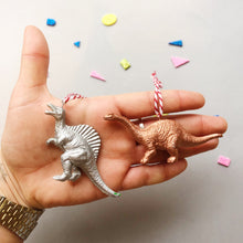 Load image into Gallery viewer, Brachiosaurus & Spinosaurus Mini Set in Copper and Silver
