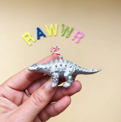 Mini Talarurus Dinosaur Bauble in Silver