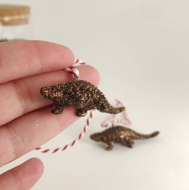 Set of 2 Ankylosaurus Mini Dinosaur Decorations in Coppery Glitter