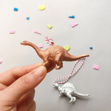 Brachiosaurus & Spinosaurus Mini Set in Copper and Silver