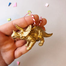 Load image into Gallery viewer, Mini Triceratops Baubles in Gold