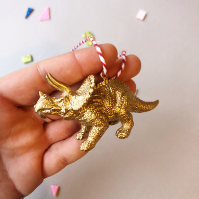 Mini Triceratops Baubles in Gold