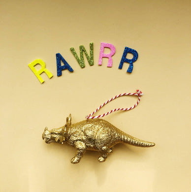 Triceratops Dinosaur Bauble in Gold