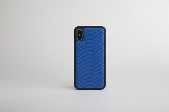 Luxury Blue Python Leather iPhone X / XS case - Eldadesign