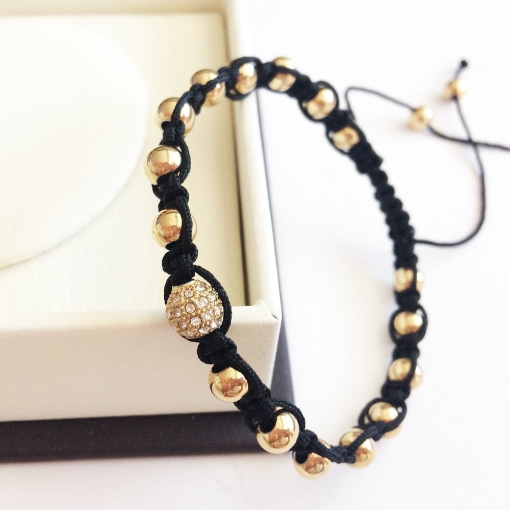 Bead Bracelet 24k plated Stainless Steel Macrame Silver/Gold/Rose/Black - Eldadesign