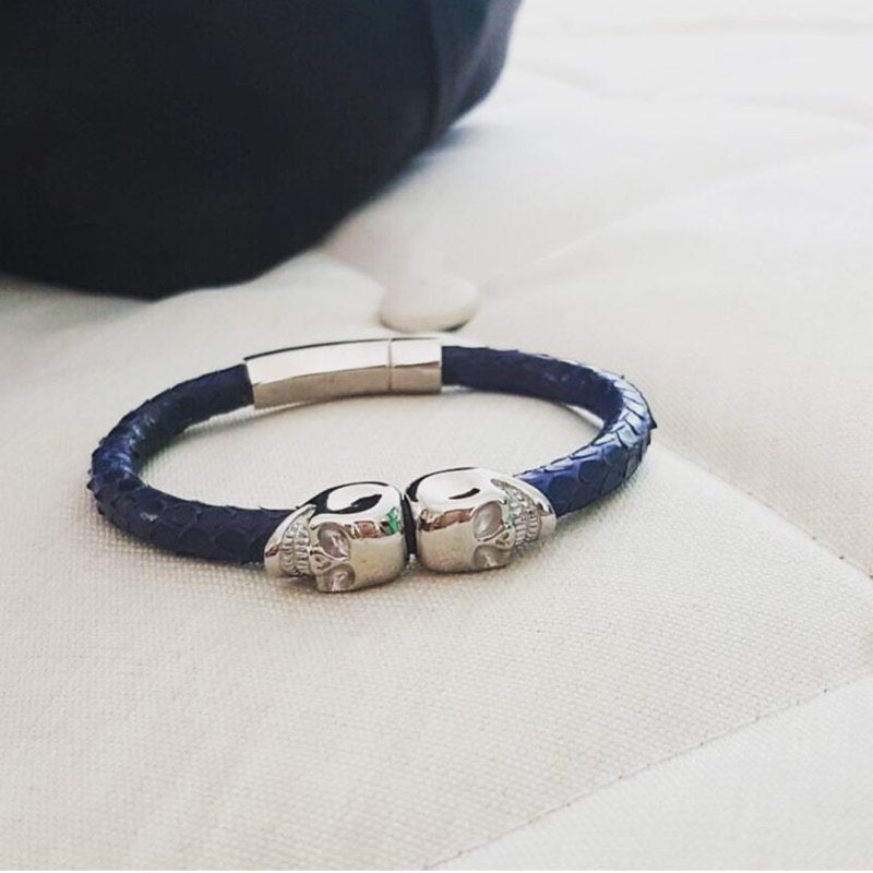 Python Leather Skull Bracelet - Eldadesign