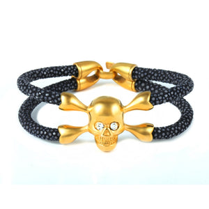 The Skull Collection Genuine Stingray Leather With Swarovski Crystal Eyes - Eldadesign, gold skull / blue leather / 19cm, elda