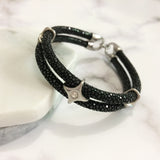 Genuine Stingray and Swarovski Crystal Bracelet for Men - Eldadesign, , elda