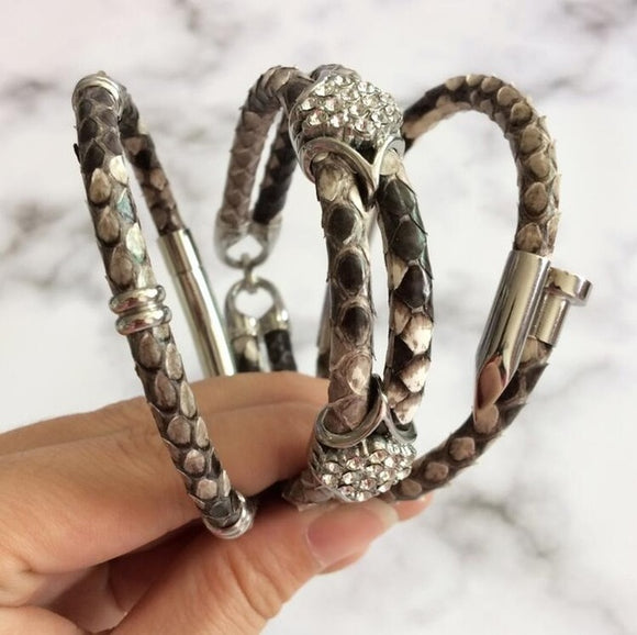 Luxury Python Leather Bracelet with 316L Stainless Steel Nail set - Eldadesign, Python bracelet set / 17cm, elda