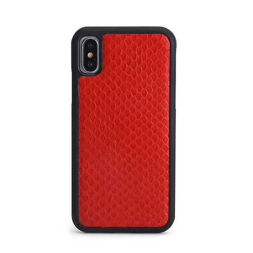 Luxury Red or Black Python (top scales) Leather iPhone X / XS/XR case - Eldadesign