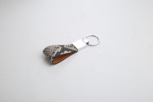 Python Skin & Vegetable Tanned Leather Key Holder - Eldadesign