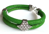 Genuine Stingray Leather 18k plated Stainless Steel Bracelet with Swarovski Crystals - Eldadesign, silver buckle / green leather / 19cm, elda