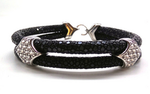 Genuine Stingray Leather 18k plated Stainless Steel Bracelet with Swarovski Crystals - Eldadesign, , elda