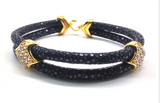 Genuine Stingray Leather 18k plated Stainless Steel Bracelet with Swarovski Crystals - Eldadesign, gold buckle / black leather / 19cm, elda