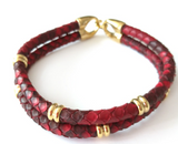 Python Skin Leather Bracelet - Eldadesign, gold buckle / red leather / 19cm, elda