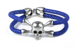 The Skull Collection Genuine Stingray Leather With Swarovski Crystal Eyes - Eldadesign, silver skull / blue leather / 19cm, elda