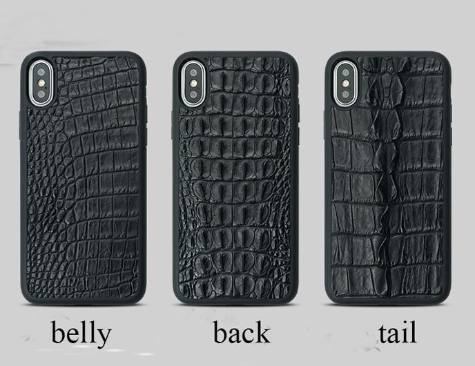 Luxury Genuine Crocodile Skin iPhone X/XS Case Black or Brown Belly, back or tail - Eldadesign