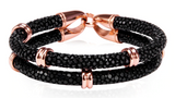 Genuine Stingray Leather Double band ring Bracelet Collection - Eldadesign, 19cm / black rose gold, elda