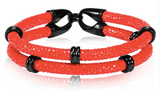Genuine Stingray Leather Double band ring Bracelet Collection - Eldadesign, 19cm / red black, elda