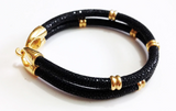 Genuine Stingray Leather Double band ring Bracelet Collection - Eldadesign, 19cm / black gold, elda