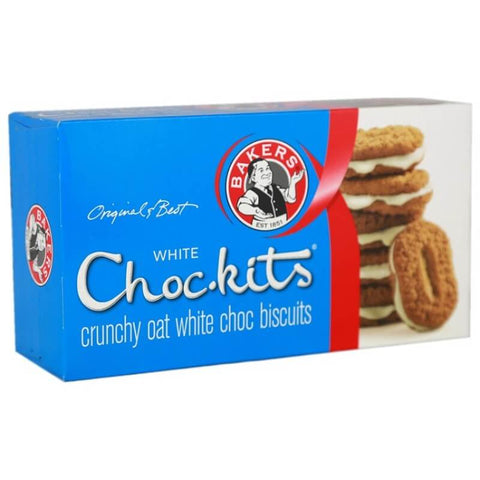 Bakers Choc- Kits White Choc Biscuits (Kosher) (CASE of 12 x 200g)