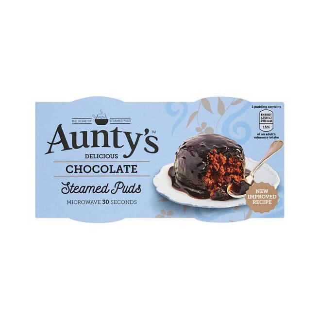 Auntys Chocolate Steamed Puddings (Pack of 2) (CASE of 6 x 190g)