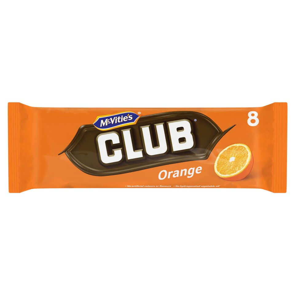 Jacobs (McVities) Club Bars - Orange (Pack of 8 Bars) (CASE of 30 x 176g)