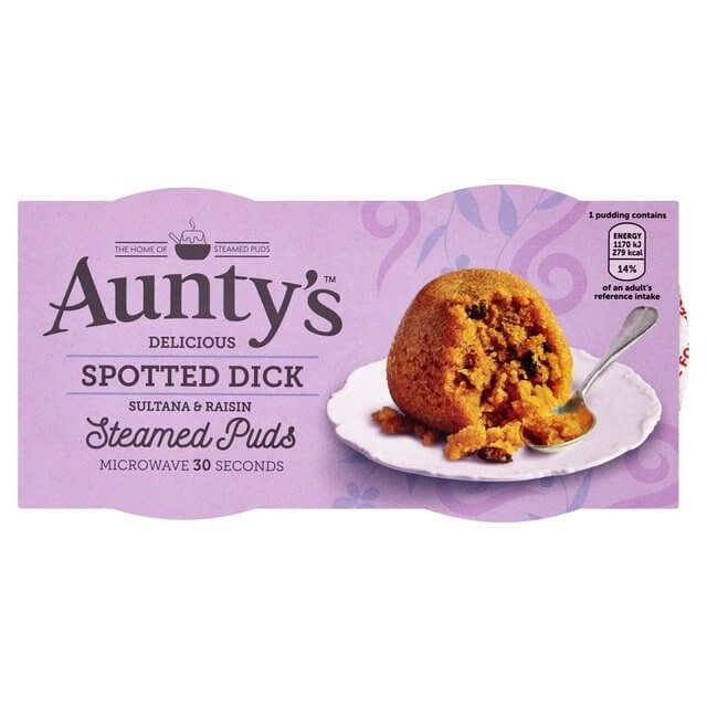 Auntys Spotted Dick Steamed Puddings (Pack of 2) (CASE of 6 x 190g)
