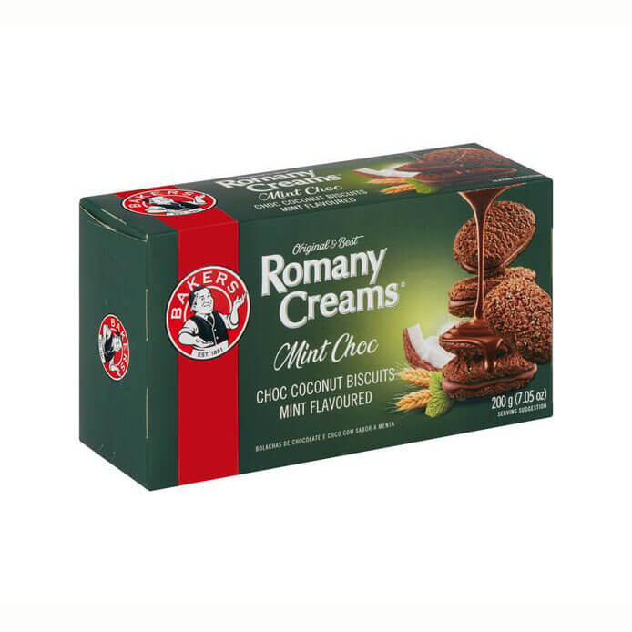Bakers Romany Cream - Mint Choc Flavored Biscuits (Kosher) (CASE of 12 x 200g)