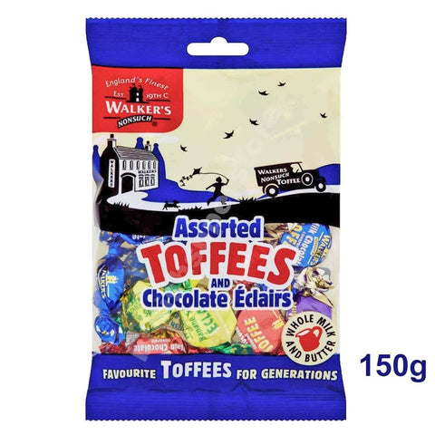 Walkers Toffee - Assorted Toffees with Chocolate Eclairs Bag (CASE of 12 x 150g)