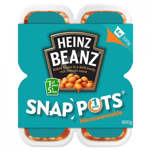 Heinz Baked Beans - 4 Pack Snap Pots (Pack of 4 Tubs) (CASE of 6 x 800g)