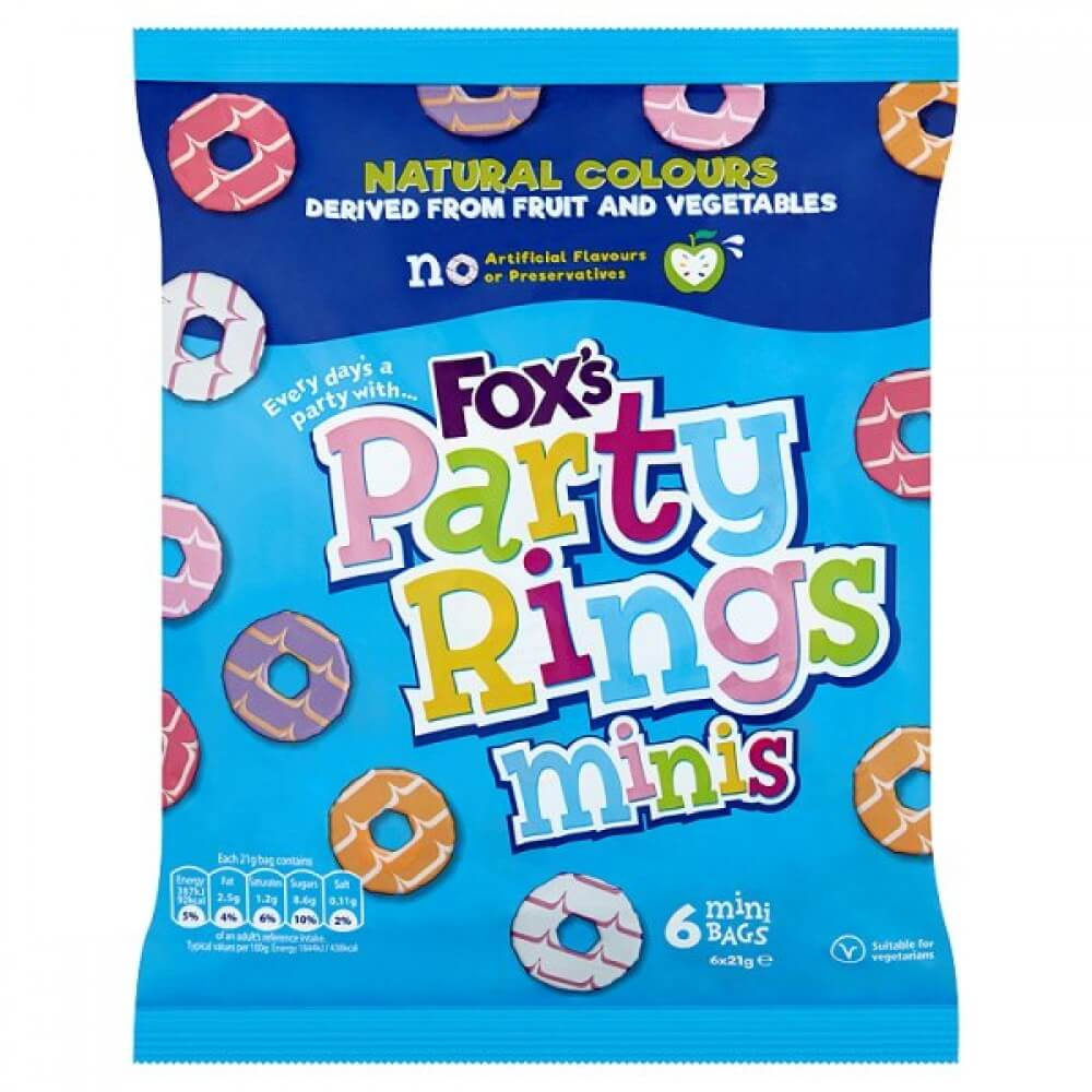 Foxs Biscuits - Party Rings Minis (Pack of 6 Bags) (CASE of 10 x 126g)