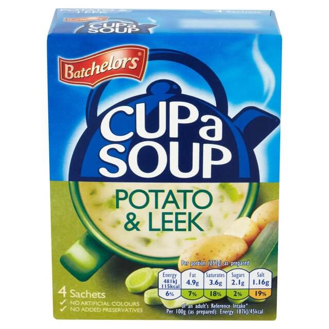 Batchelors Cup a Soup - Potato and Leek Flavor (Pack of 4) (CASE of 9 x 107g)