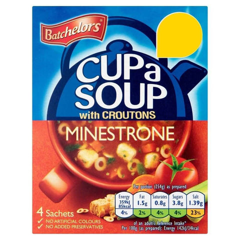 Batchelors Cup a Soup - Minestrone with Croutons (Pack of 4) (CASE of 9 x 94g)
