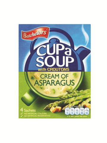 Batchelors Cup a Soup - Cream of Asparagus with Croutons (Pack of 4) (CASE of 9 x 117g)