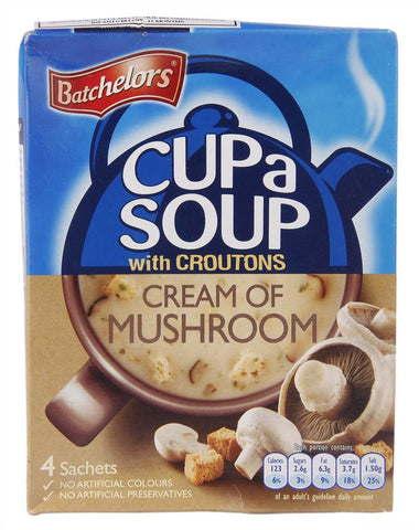 Batchelors Cup a Soup - Cream of Mushroom with Croutons (Pack of 4) (CASE of 9 x 99g)