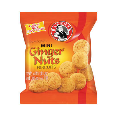 Bakers Mini Gingernuts Biscuits Bag (CASE of 24 x 50g)