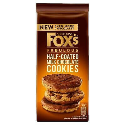Foxs Fabulous - Half Coated Milk Chocolate Cookies   (CASE of 8 x 175g)