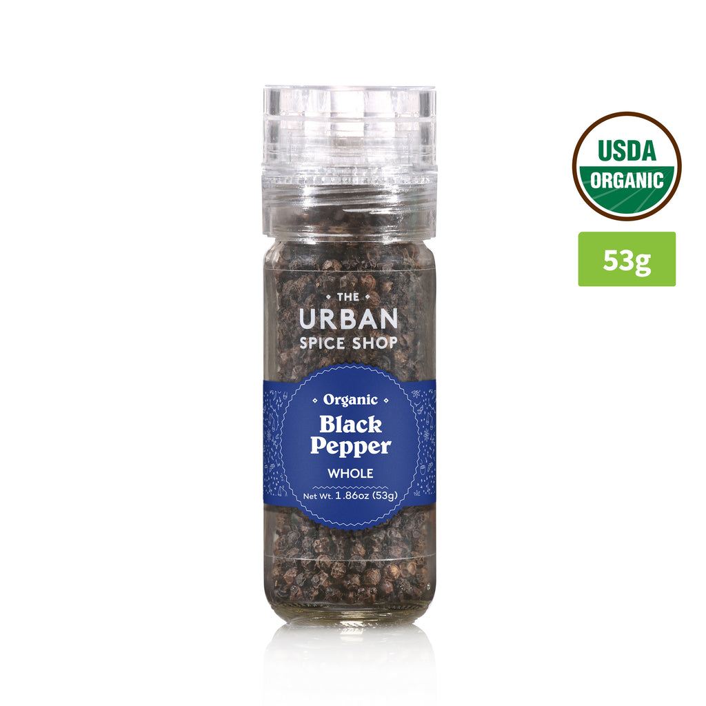 The Urban Spice Organic Black Pepper Whole 53g (Grinder)