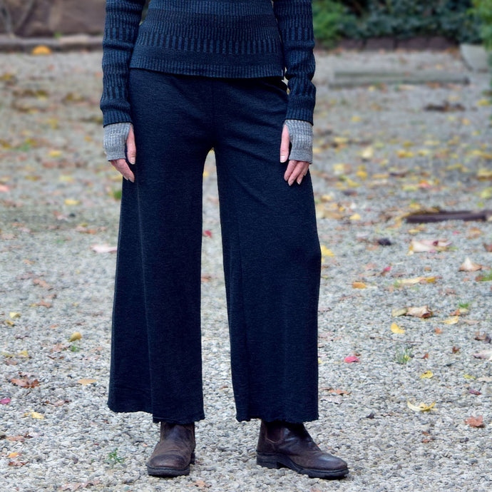 Vida pants i merinoull - Midnight Blue Melange