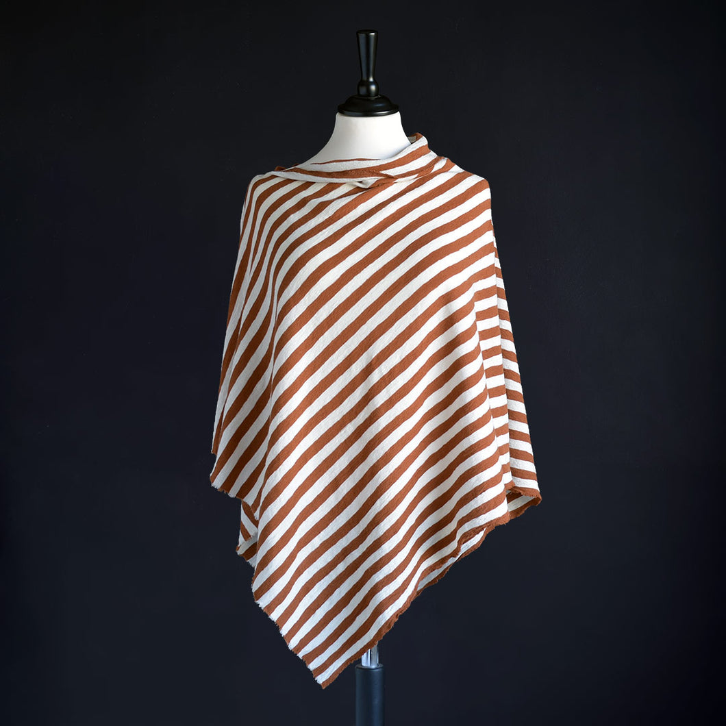 Poncho i merinoull, Rust & Raw White