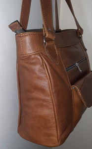 Leather tote organizer - cape Masai leather
